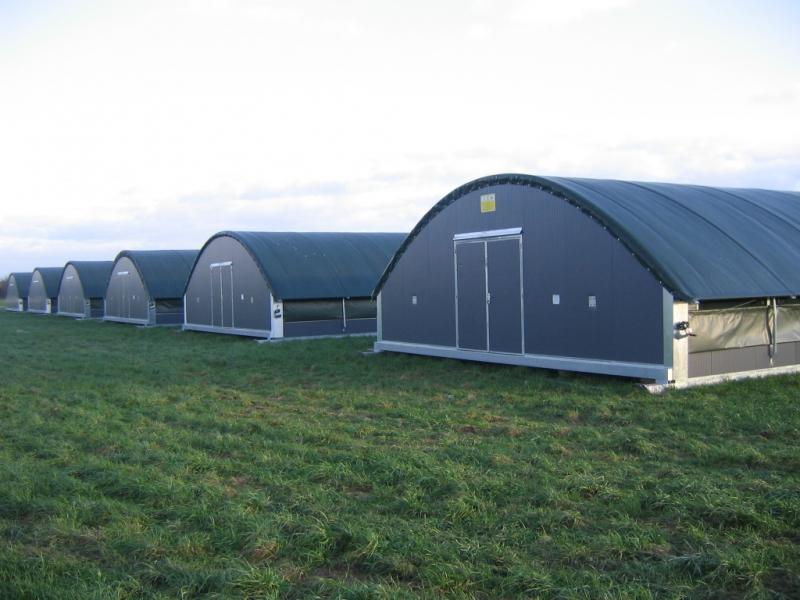 Tunnel d'élevage en bache avec structure métalique